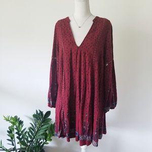Altar'd State Burgundy Boho Long Tunic Dress Large